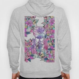 Colorful magenta teal watercolor dream catcher floral Hoody