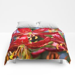 Vibrant Red Martagon Lily Comforters
