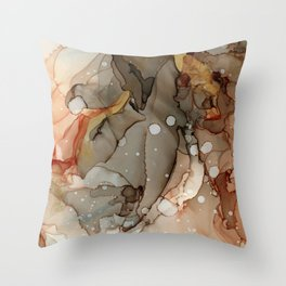 Abstract Ink - Earth Tones Gold Throw Pillow