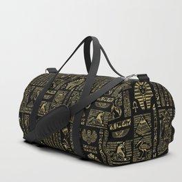 Egyptian hieroglyphs and deities gold on black Duffle Bag