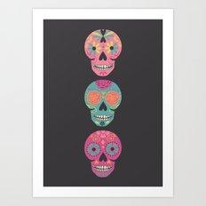 Three Amigas Sugar Skulls Art Print