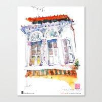 "Paul Wang, ""Shophouse At Purvis Street, Singapore"" Canvas Print"