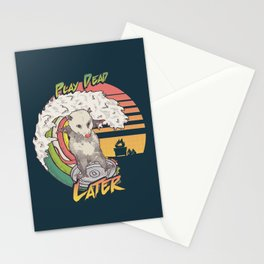 Play Dead Later - Funny Opossum T Shirt Rainbow Surfing On A Dumpster Can Lid Searching For Trash, Burning Dumpster Panda Summer Vibes Street Cats Possum Stationery Cards