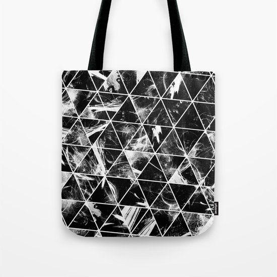 Geometric Whispers - Abstract, black and white triangular, geometric pattern Tote Bag