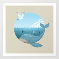 Whale & Seagull (US and THEM) Art Print