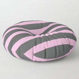 Hot Pink Stripes on Gray Background Floor Pillow