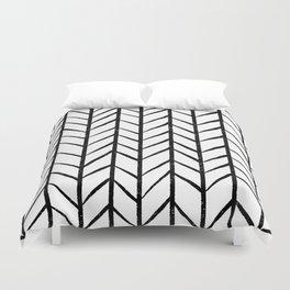 black and white modern hand drawn herringbone chevron pattern Duvet Cover