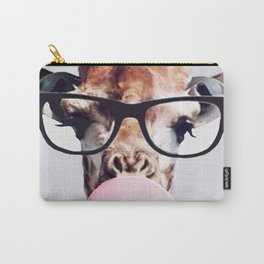 Giraffe wearing glasses blowing bubble gum Carry-All Pouch