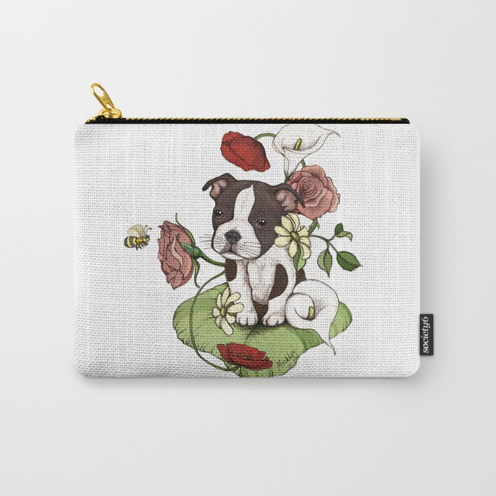 Boston Terrier Puppy Bouquet Carry-All Pouch