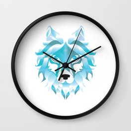 Silver Snow Wolf Art Wolves Pack Alpha Canidae Animals Gift Wall Clock