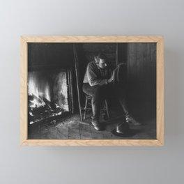 Vintage Adirondacks: Man Reading by the Fireplace Framed Mini Art Print