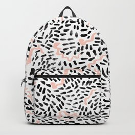 Helena - black white rose quartz abstract squiggle dot mark making painting brushstrokes minimal  Backpack