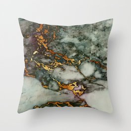 Gray Green Marble Glitter Gold Metallic Foil Style Throw Pillow