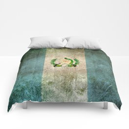 Old and Worn Distressed Vintage Flag of Guatemala Comforters