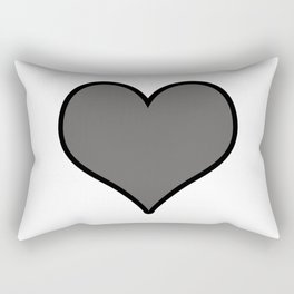 Pantone Pewter Gray Heart Shape with Black Border Digital Illustration, Minimal Art Rectangular Pillow