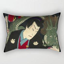 Dragon with a Warrior in Japan wood print Rectangular Pillow