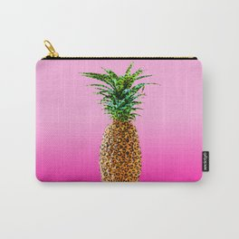 Modern pop leopard pattern pineapple on 90's neon pink gradient Carry-All Pouch