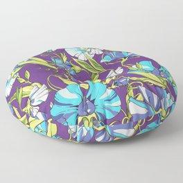 Fairytale Floral Pattern in Blue Lollipop Pinwheels & Persian-Purple Floor Pillow