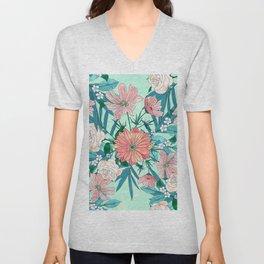 Boho chic spring garden flowers illustration Unisex V-Neck