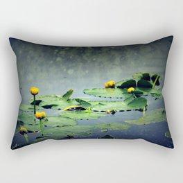 lily pads in the rain at Vernonia Lake Rectangular Pillow