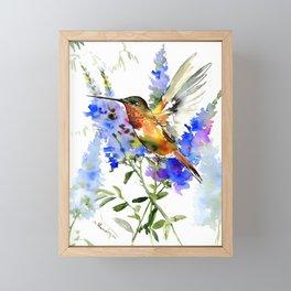 Alen's Hummingbird and Blue Flowers, floral bird design birds, watercolor floral bird art Framed Mini Art Print
