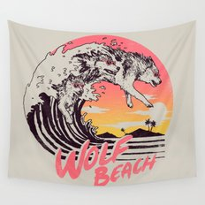 Wolf Beach Wall Tapestry