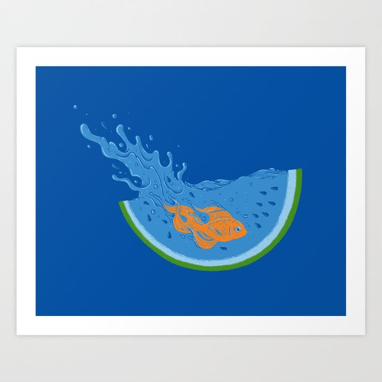 Watermelon Dive Art Print