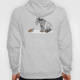 Tapir meets Turtle, Cute Animal Illustration, Black & White with Copper Metallic Accent Funny Turtle Hoody