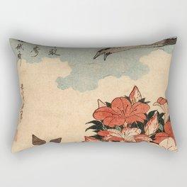 Hokusai Cuckoo and azaleas -hokusai,manga,japan,Katsushika,cuckoo,azaleas,Rhododendron Rectangular Pillow