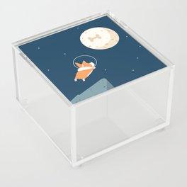 Fly to the moon _ navy blue version Acrylic Box