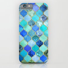 Cobalt Blue, Aqua & Gold Decorative Moroccan Tile Pattern iPhone 6 Slim Case