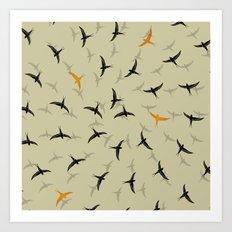 spiral birds Art Print