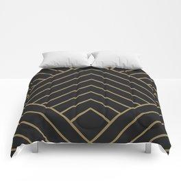 Diamond Series Pyramid Gold on Charcoal Comforters