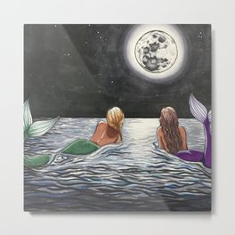 Mermaid Moon Metal Print