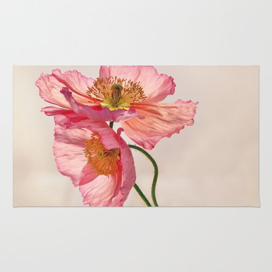 Like Light through Silk - peach / pink translucent poppy floral Rug