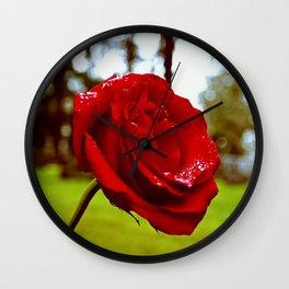 Single red rose Wall Clock