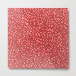 Stars and Stars and Stars on Red Metal Print
