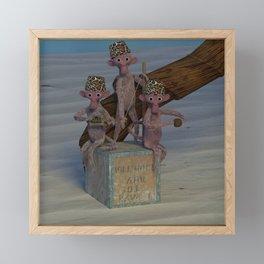 Monkey Leopard Print Fez Band Framed Mini Art Print