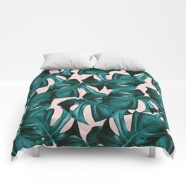 Tropical Monstera Leaves Pattern #1 #foliage #decor #art #society6 Comforters