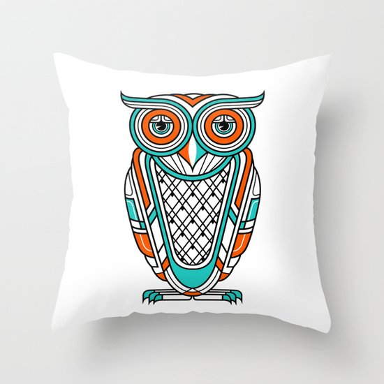 Art Deco Owl Throw Pillow