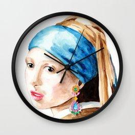 Girl with an earring Wall Clock