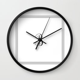 Monogram Letter B in Black with Triple Border Wall Clock