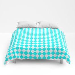 Small Diamonds - White and Aqua Cyan Comforters