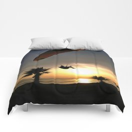 Dropzone At Dusk Comforters