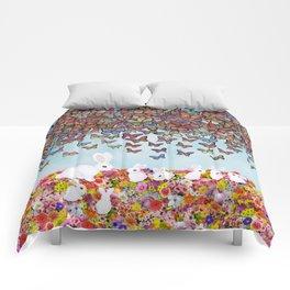 bunnies, flowers, and butterflies Comforters