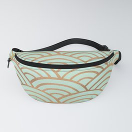 Japanese Seigaiha Wave – Mint & Copper Palette Fanny Pack