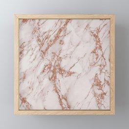 Abstract blush gray rose gold glitter marble Framed Mini Art Print
