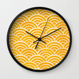Japanese Seigaiha Wave – Marigold Palette Wall Clock