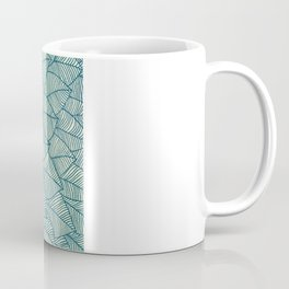 Emerald Green, Navy & Cream Floral & Leaf doodle Coffee Mug