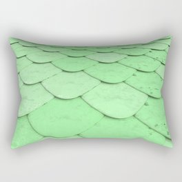 Pattern of green rounded roof tiles Rectangular Pillow